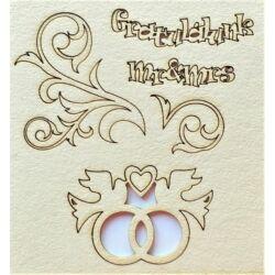 Gratulálunk, Mr&Mrs, galambok gyűrűvel, inda 110x115 mm táblán
