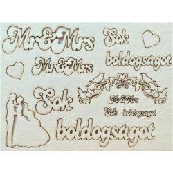 Sok boldogságot, Mr&Mrs, gyűrű, inda, ifjú pár 145x195 mm táblán