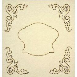 Sarokminta középen címkével 110x115 mm táblán