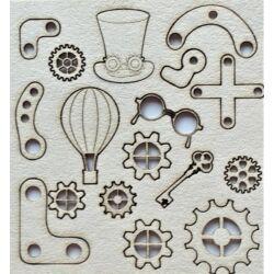 Fogaskerekek, cilinder, sarokvas, szemüveg, léggömb, kulcs 110x115 mm táblán