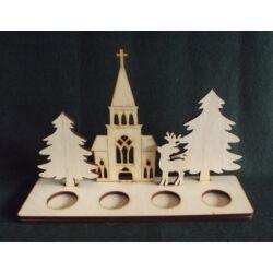 Mécsestartó fenyőkkel, szarvassal, templommal 320x205x6 mm lapra szerelve