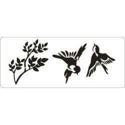 3D stencil 80x195x1 mm ST1035 madárkák faággal