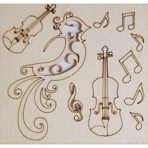 Hegedű, madár 110x115x1 mm táblán
